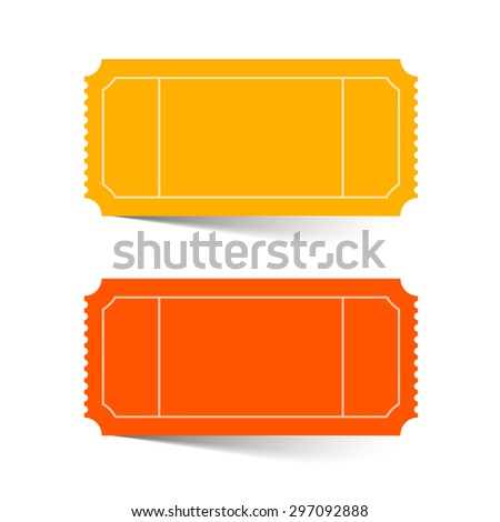 Tickets Set - Red and Orange Vector Illustration Isolated on White - stock vector