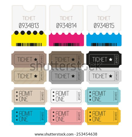Tickets to the theater, cinema. Yellow, gray, blue, pink. Vintage. vector