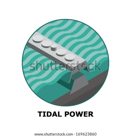 Tidal Power, Renewable Energy Sources - Part 6 (both circle and square version is available in the vector file)  - stock vector