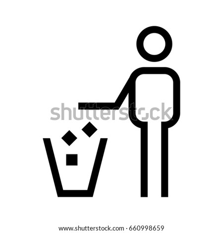 Tidy man symbol keep clean icon silhouette of a man throwing garbage in a