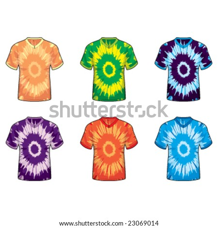 Tie Dye V-Neck Shirts - stock vector