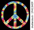 Tie Dyed Peace Symbol - stock photo