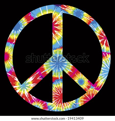 Tie Dyed Peace Symbol - stock vector