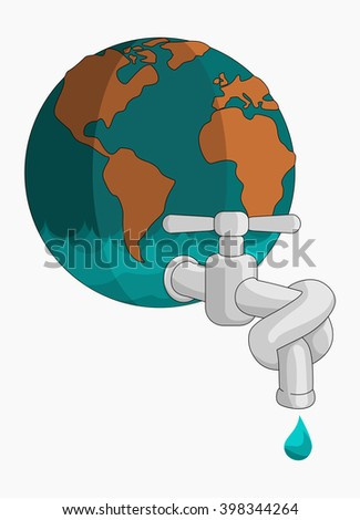 Tied Faucet Save Water - stock vector