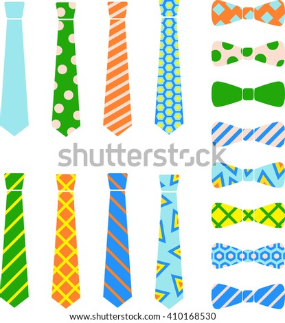 Ties and bow ties set in cartoon style. - stock vector
