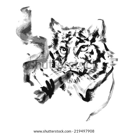 Tiger and cigar paint.vector - stock vector