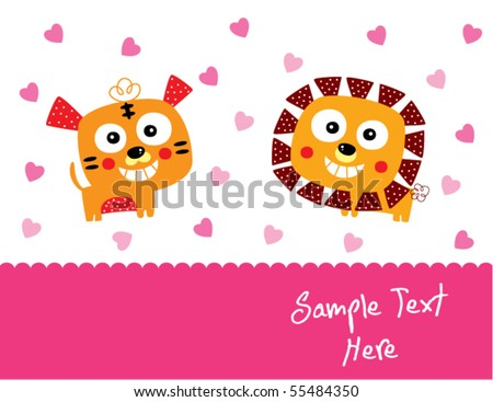 tiger and lion couple love - stock vector