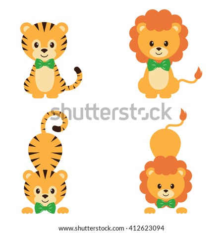 tiger and lion set - stock vector