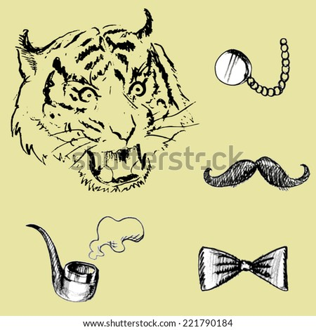 Tiger and Pipe, bow tie, glasses, mustache.vector - stock vector