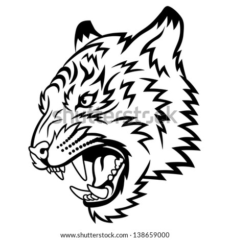 Tiger anger. This is vector illustration ideal for a mascot and tattoo or T-shirt graphic. - stock vector
