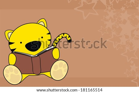 tiger baby reading cartoon background in vector format very easy to edit - stock vector