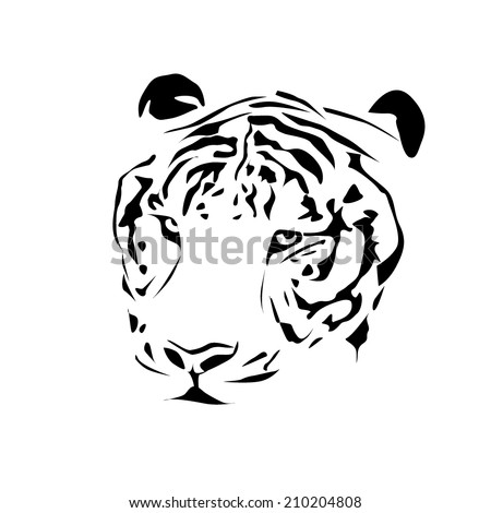 Tiger black and white. tattoo. Vector