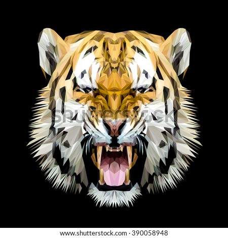 Tiger cat animal low poly design. Triangle vector illustration. - stock vector