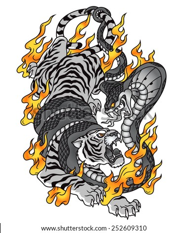 Tiger cobra fire tattoo graphic - stock vector