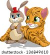 tiger cub and hare - stock vector