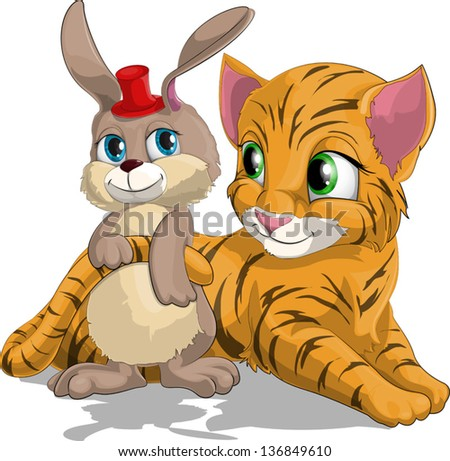 tiger cub and hare