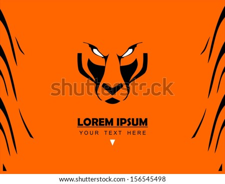 Tiger Face and pattern, combine with text - stock vector