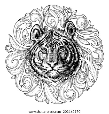 Tiger face black and white abstract decoration - stock vector