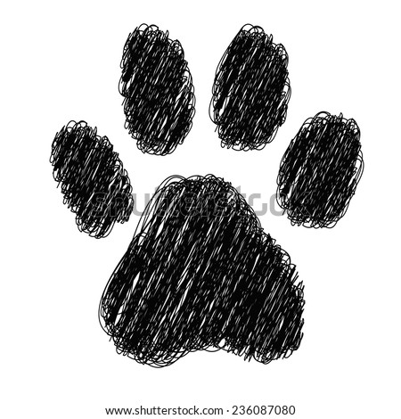 tiger footprint with striped on white background - stock vector