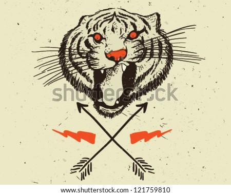 Tiger head - stock vector