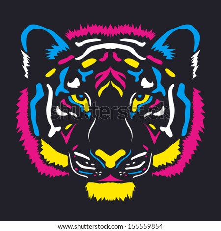 Tiger head colored cmyk ?olors - vector illustration, on dark background - stock vector