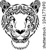 Tiger head ornament. animal head with floral ornament decoration for tattoo design - stock vector