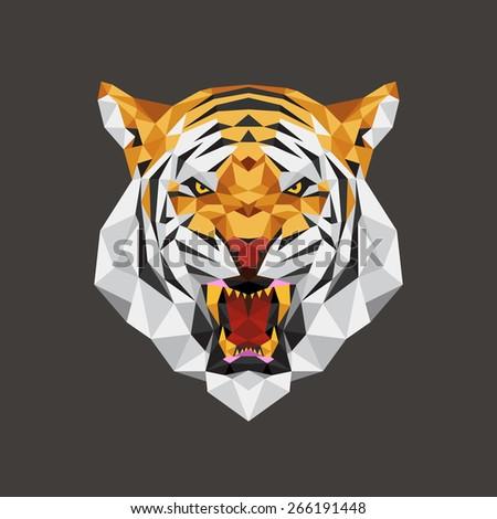Tiger head polygon geometric, Vector illustration - stock vector