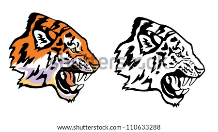 tiger head profile ,vector picture isolated on white background - stock vector