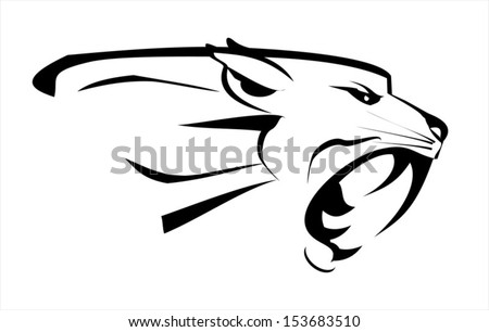 tiger head, roaring fang face - stock vector