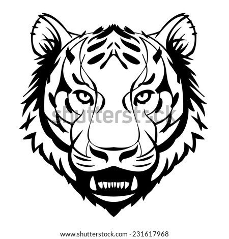 tiger head showing teeth vector suitable for tattoos or logos - stock vector