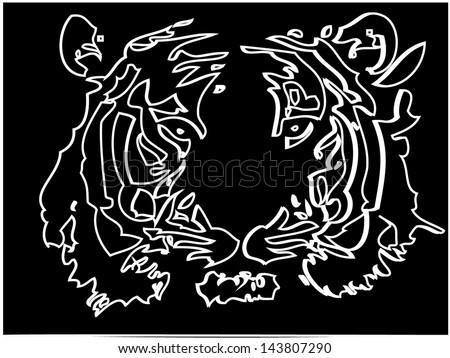 Tiger head silhouette, Vector - stock vector