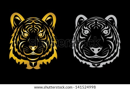 Tiger head silhouette. Vector illustration isolated on black background. - stock vector