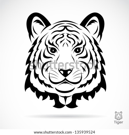 Tiger head silhouette. Vector illustration isolated on white background. - stock vector
