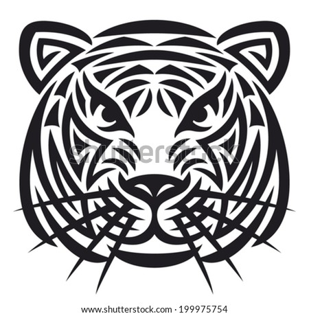tiger head tattoo (tiger face) - stock vector