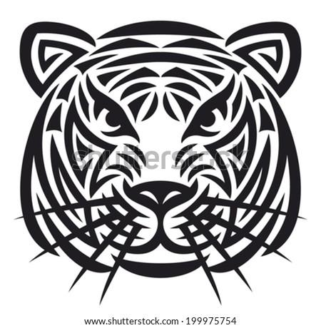 tiger head tattoo (tiger face) - stock vector