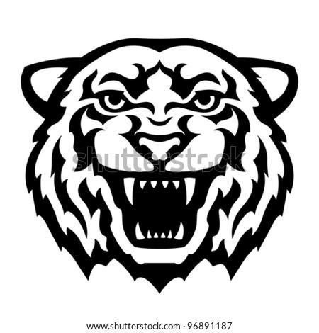 Tiger Head Tattoo. Vector - stock vector