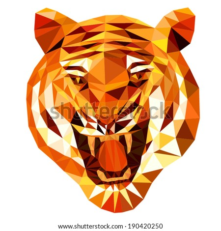tiger head (tiger anger) by triangles, polygon vector illustration - stock vector