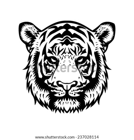 tiger head vector graphic illustration black and white - stock vector