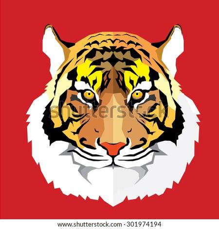 Tiger head - vector illustration - stock vector