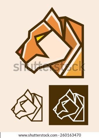 Tiger head vector illustration usable as a logo template. It is a modern and polygonal illustration representing  the head of a tiger or a feline. - stock vector