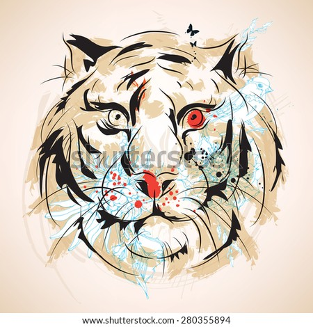 Tiger head vintage style - stock vector