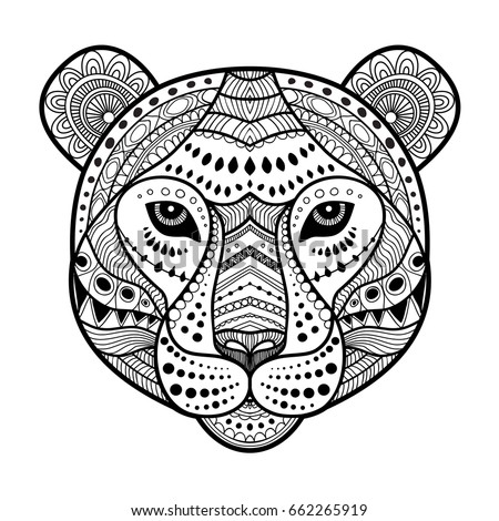 Tiger Head Zen Art Style Illustration Print In Black And White Adult Coloring Page