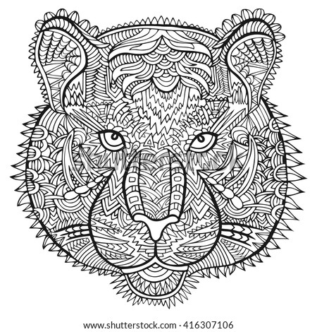 Tiger Head Zentangle Artwork Animal Illustration Zoo And Safari Theme