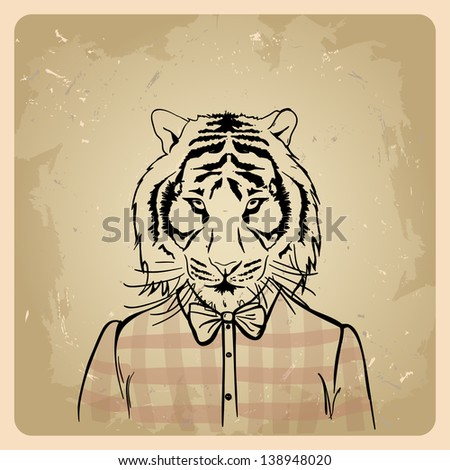 Tiger hipster in a shirt on a vintage background - stock vector