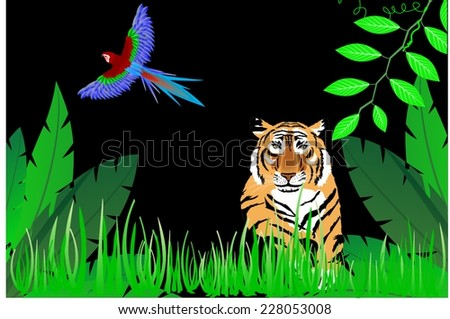 Tiger in night jungle and parrot - stock vector