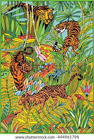 Tiger in the Jungle coloring page