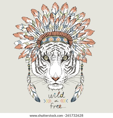 tiger in war bonnet, hand drawn animal illustration, native american poster, t-shirt design - stock vector