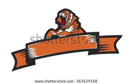 Tiger label/badge with ribbon frame. Eps 8 - stock vector