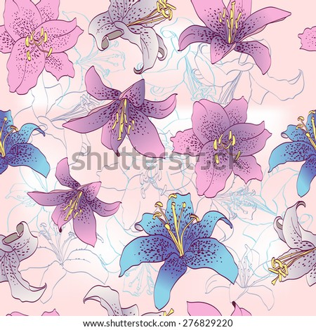 tiger Lily. Seamless floral pattern. Flowers texture. - stock vector