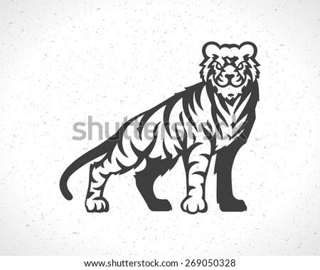 Tiger logo emblem template mascot symbol for business or shirt design. Vector Vintage Design Element. - stock vector